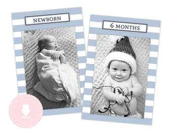 INSTANT DOWNLOAD 12 Month Nautical Photo Banner (Light Blue Nautical Party, 1st Birthday, Nautical Party, Printable Photo Banner,  Anchor)