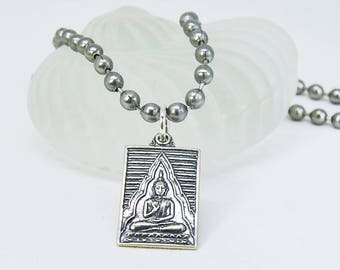 Sterling Silver Buddha Necklace | Meditation Buddha Pendant | Unisex | Choice of Chain Color
