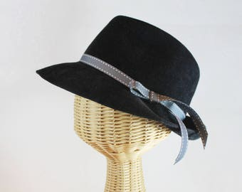 Women's Black Fedora in Velour Felt ~ Bacall ~ 1930s glamour, Lauren Bacall, rain hat ~ handmade by Bonnet, local Portland millinery