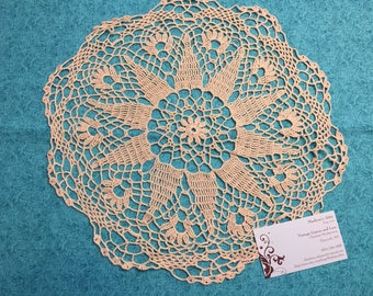 Doily, Vintage 13 inch Ivory Hand Crochet doily for housewares, home decor, pillows, christmas, holiday, bags by MarlenesAttic