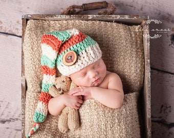 Coral and Mint, Newborn Elf Hat, Stocking Hat, Stocking Cap, Baby Shower, Nursery, Coral and Mint Baby, Newborn Photo Prop, Newborn Decor