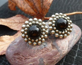 Gold And Black Clip Earrings