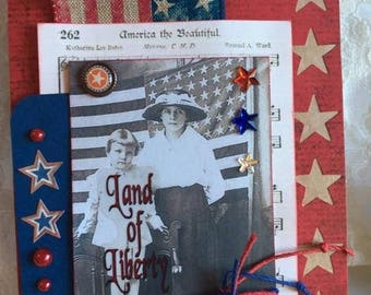 Patriotic Card ~~~Land of Liberty~~~ Red White and Blue ~~~