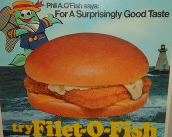 1976 McDonalds sign with rare mascot Phil A O'Fish - vintage 70s Filet O Fish - Mcdonaldland