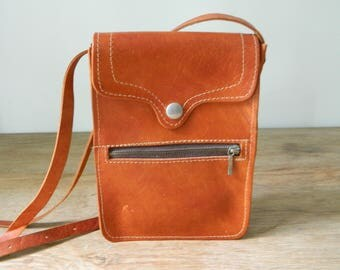 Vintage 1970's Leather Flap Pocket Shoulder Bag. Crossbody. Handmade.