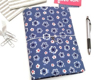 Blue Fauxdori. Flower Travelers Notebook Cover. Travel Journal A5 Cover. Vegan Fauxdori. School Planner. Sketchbook Cover. Bullet Journal