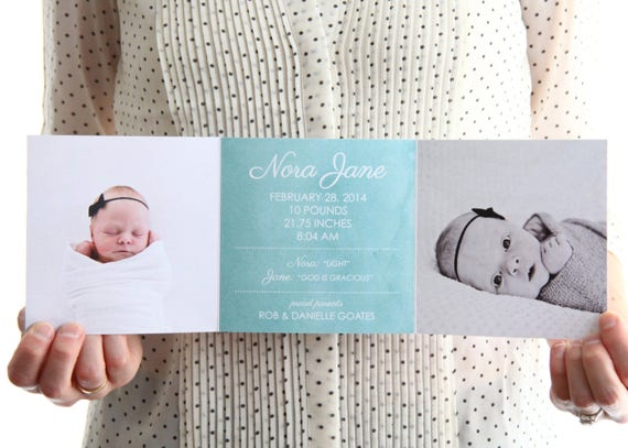 ZFold Birth Announcement Up to 5 photos Printed with – Tri Fold Birth Announcement