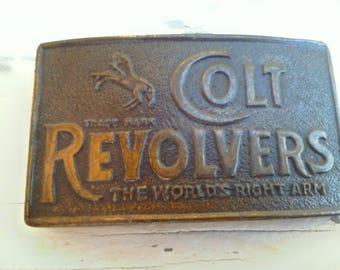 Vintage Buckle ~ Colt Revolvers Belt Buckle 'The Worlds Right Arm'~ 80's era ~ Excellent Detail
