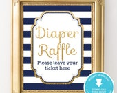 Navy and Gold Baby Shower Sign - Navy and Gold Diaper Raffle - Gold Glitter Baby Shower - Boy Baby Shower - Gender Neutral Instant Download
