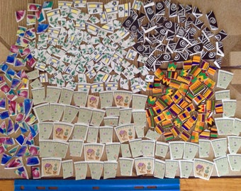2.5LB  Mosaic Tiles Set Loose Cut Plates Stripes Florals Topiary Mixed Colors Leaves Summer Art Project