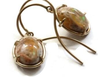 Solid 14K Gold Opal Earrings, Mexican Matrix Opal Gemstone Drop Earrings  Firey Opal Dangle Drops  ARTISAN HANDMADE by Sheri Beryl