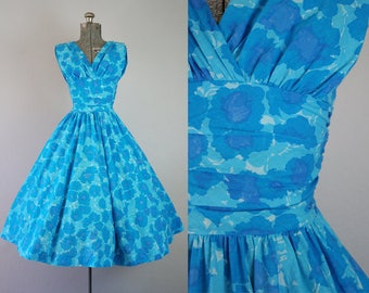 1950's Blue Floral Cotton Anne Fogarty Party Dress / Size XSmall