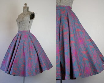 1950's Green and Pink Circle Skirt / Size XSmall