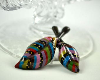Striped Double Leaf Pin, Brooch, Blue, Pink, Purple, Red, Burgundy, Green, Black, and Gold Leaf.