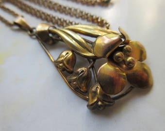 Vintage 1940s Gold Fill Flowers Necklace - Retro 1940s Jewelry - Floral Fashion - Style Inspiration - Gifts For Women - Vintage Jewelry