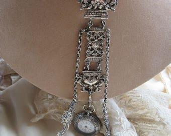 Antique Art Nouveau Sterling Chatelaine - Antique Chatelaine Necklace -Antique Enameled Enameled Pocket Watch - Ladies Pocket Watch