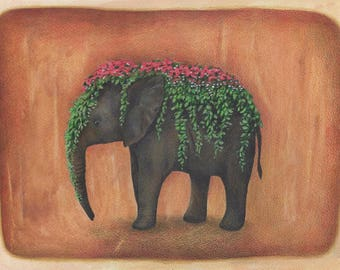 Flower Elephant, Art Print