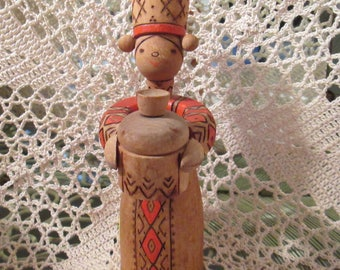 Vintage Wooden Woman Candle Holder