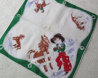 Western Handkerchief Children's Cowboy Cowgirl Hankie Hanky Cotton Woven Bandana Horse Corral 1950s Child Western Decor