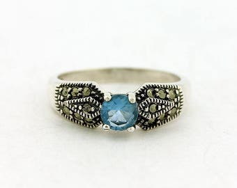 Blue Topaz Ring // 925 Sterling Silver // Ring Size 6 // Handmade Jewelry