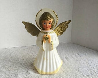 CIJ Vintage Plastic Christmas Angel Figurine / Hand Painted Blonde with Gold Glitter and Star
