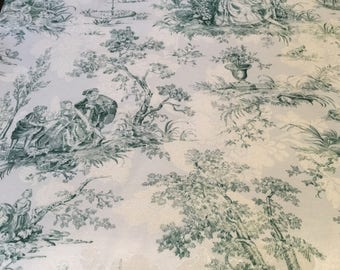Chintz damask upholstery in green and toile design - 2 3/4 yard x 54 inches