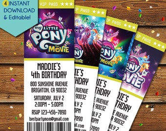 NEW! My Little Pony Movie Invitations, My Little Pony Movie Birthday Invitation, MLP Movie, My Little Pony Movie 2017 Party Invite