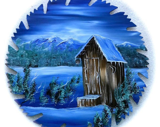 Hand Painted Saw Blade Mountain Blue Winter OUT HOUSE