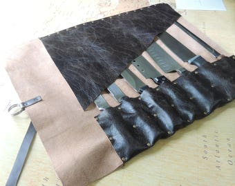 Handmade  Leather Knife roll / chef roll / chef bag / tool roll 4