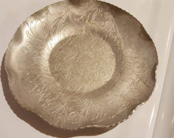 Hand Wrought Aluminum Serving Dish, Vintage, Floral Pattern