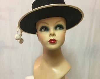 Emily Varon Black and Off White Hat