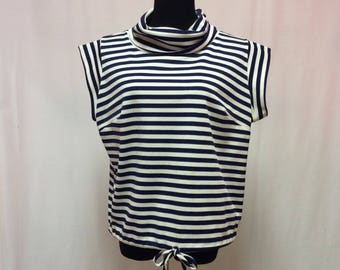 1960's Crop Sleeve Cowl Neck Drawstring Bottom Striped Boating Knit Top