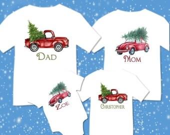 SALE Personalized Christmas Family Matching Retro Truck Car Christmas Tree T-shirts Shirt Baby Bodysuit Mom Dad Baby Kids Boy Girl Child Sib