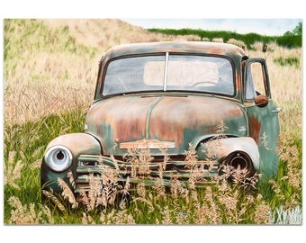 Americana Wall Art 'Franky's Truck' by Todd Mandeville - Classic Trucks Decor Country Rustic Automobiles on Metal or Plexiglass