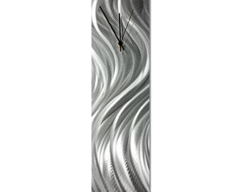 Contemporary Wall Clock 'Silver River Clock' by Nate Halley - Original Modern Kitchen Clock Silver Decor on Natural Aluminum