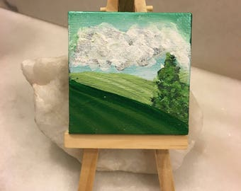 """Original Handmade Small Art: Mini Square Canvas 2.5"""" with Easel of a Pine Tree and Silver Glitter in the Clouds- landscape"""