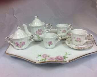 Little Pink Roses hand painted on a Children's Tea Set