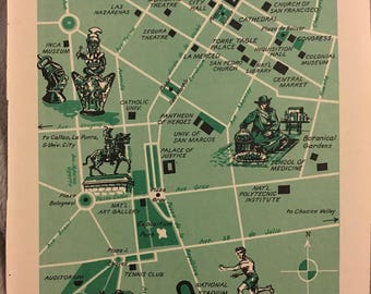 City of Lima Peru Map, Vintage Map Wall Art, Nursery Map World Travel Decor, Peruvian Heritage, South America Old Map Illustration