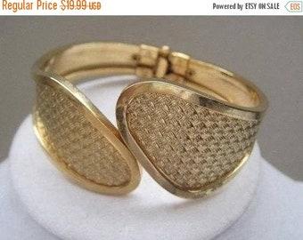 Gold Clamper Bracelet, Basketweave, Cuff Bracelet, 1950's, Mid-Century