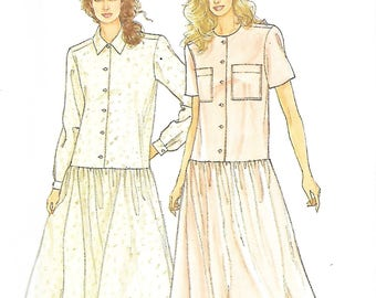Simplicity 7094 Misses Easy Dropped Waist Dress With gathered Skirt Sewing Pattern, Sizes 8-20, UNCUT