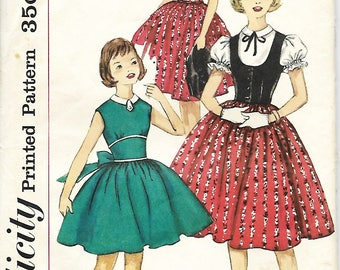 1950's Simplicity 1976 Girls One-Piece Dress And Weskit Sewing Pattern, Size 12, Breast 30, UNCUT