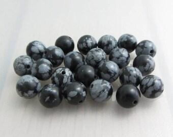 20 Snowflake Obsidian Beads, 8mm Black Round Gemstone Beads, Black Grey Patterned Beads, Bead Destash