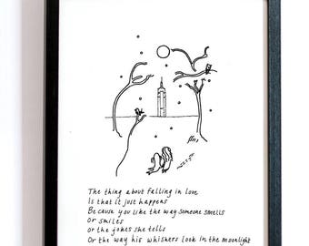 The Thing About Falling In Love--DIGITAL DOWNLOAD, Tree Print, Cartoon Drawing, Animals, Black and White, Ink Print, Sea Lion