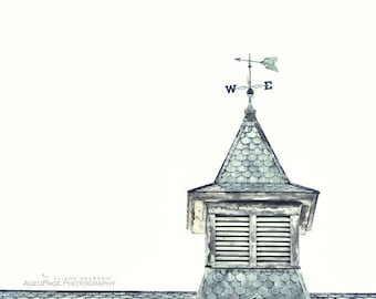 Weathervane Photography, Barn Art, Vintage Rustic Farmhouse Chic Wall Art, Country Home Decor, Blue & Gray   'East Wind Blowing'