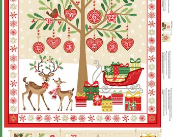 Christmas 2017 Makower Traditional advent calendar panel 1797/1