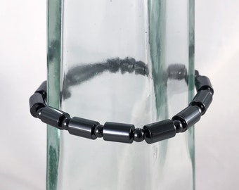 Magnetic Hematite Bracelet - Smooth Cylinder Beads - Men's Women's Unisex Necklace - Custom Sized