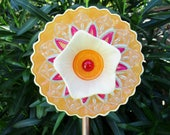 vintage glass garden art plate flower, glass art, re-purposed, upcycled, recycled, yard art, outdoor decor, sun-catcher, garden art, whimsy