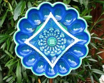 Vintage Glass Flower Garden Art Hand Painted Cobalt Blue, Light Blue & Green - Garden Decor - Garden Sculpture - Outdoor Decor - Garden Gift