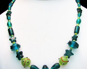 Light and Dark Green Lampwork Beaded Necklace with Green Star Beads - Item 279