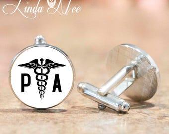 Personalized Mens Medical Caduceus Cufflinks, Physician Assistant, PA, PA-C Gift, Mens Cufflinks Mens Cuff Links Graduation Gift Attire CLP3